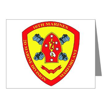 10MR - M01 - 02 - 10th Marine Regiment Note Cards (Pk of 20)