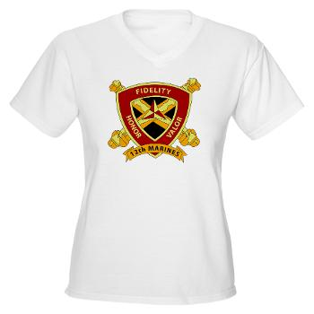 12MR - A01 - 04 - 12th Marine Regiment Women's V-Neck T-Shirt