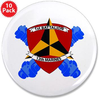 "1B12M - M01 - 01 - 1st Battalion 12th Marines 3.5"" Button (100 pack)"