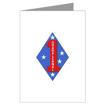 1B1M - M01 - 02 - 1st Battalion - 1st Marines Greeting Cards (Pk of 10)