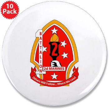 "1B2M - M01 - 01 - 1st Battalion - 2nd Marines - 3.5"" Button (10 pack)"
