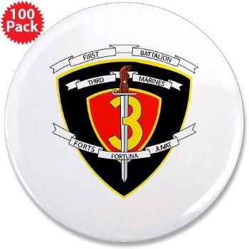 "1B3M - M01 - 01 - 1st Battalion 3rd Marines 3.5"" Button (100 pack)"