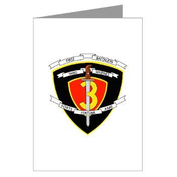 1B3M - M01 - 02 - 1st Battalion 3rd Marines Greeting Cards (Pk of 10)