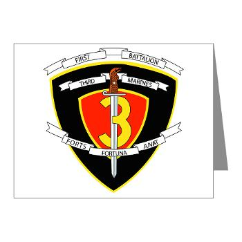 1B3M - M01 - 02 - 1st Battalion 3rd Marines Note Cards (Pk of 20)