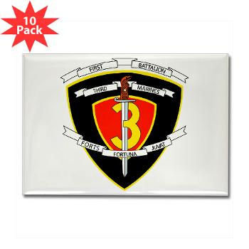 1B3M - M01 - 01 - 1st Battalion 3rd Marines Rectangle Magnet (10 pack)