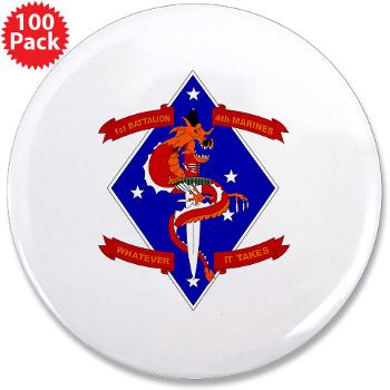 "1B4M - M01 - 01 - 1st Battalion - 4th Marines 3.5"" Button (100 pack)"