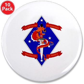 "1B4M - M01 - 01 - 1st Battalion - 4th Marines 3.5"" Button (10 pack)"