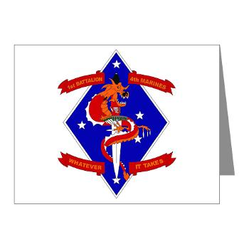 1B4M - M01 - 02 - 1st Battalion - 4th Marines Note Cards (Pk of 20)