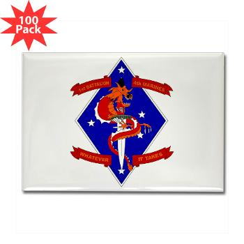 1B4M - M01 - 01 - 1st Battalion - 4th Marines Rectangle Magnet (100 pack)