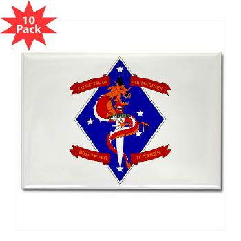 1B4M - M01 - 01 - 1st Battalion - 4th Marines Rectangle Magnet (10 pack)