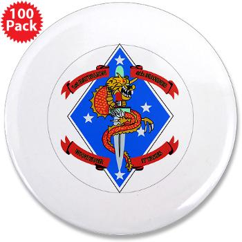 "1B4M - M01 - 01 - 1st Battalion 4th Marines - 3.5"" Button (100 pack)"