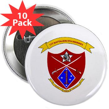 "1B5M - M01 - 01 - 1st Battalion 5th Marines 2.25"" Button (10 pack)"