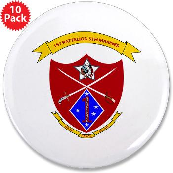 "1B5M - M01 - 01 - 1st Battalion 5th Marines 3.5"" Button (10 pack)"