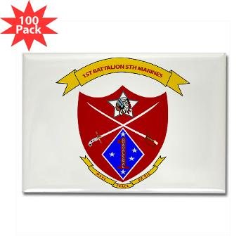 1B5M - M01 - 01 - 1st Battalion 5th Marines Rectangle Magnet (100 pack)