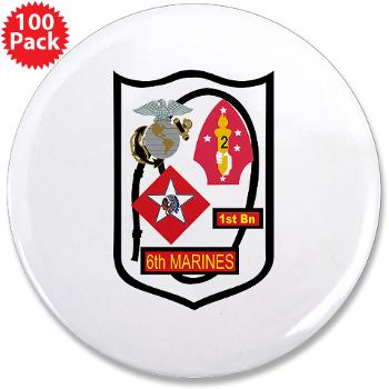 "1B6M - M01 - 01 - 1st Battalion - 6th Marines - 3.5"" Button (100 pack)"