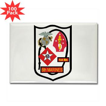 1B6M - M01 - 01 - 1st Battalion - 6th Marines - Rectangle Magnet (100 pack)