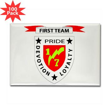 1B7M - M01 - 01 - 1st Battalion 7th Marines Rectangle Magnet (100 pack)