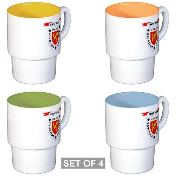 1B7M - M01 - 03 - 1st Battalion 7th Marines Stackable Mug Set (4 mugs)
