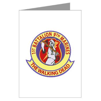 1B9M - M01 - 02 - 1st Battalion - 9th Marines - Greeting Cards (Pk of 10)