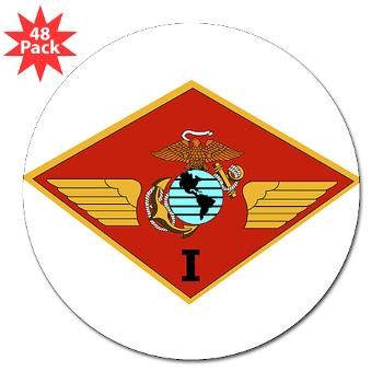 "1MAW - M01 - 01 - 1st Marine Aircraft Wing with Text - 3"" Lapel Sticker (48 pk)"