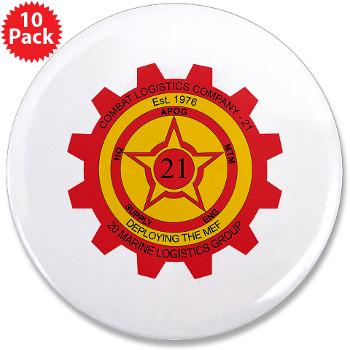 "21CLC - M01 - 01 - 21st Combat Logistics Coy - 3.5"" Button (10 pack)"