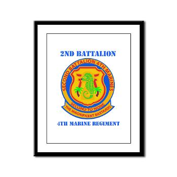 2B4M - M01 - 02 - 2nd Battalion 4th Marines with Text - Framed Panel Print