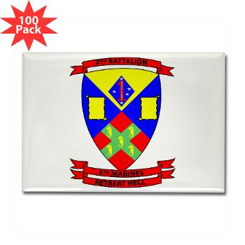 2B5M - M01 - 01 - 2nd Battalion 5th Marines - Rectangle Magnet (100 pack)