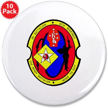 "2B6M - M01 - 01 - 2nd Battalion - 6th Marines 3.5"" Button (10 pack)"