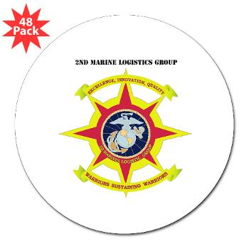 "2MLG - M01 - 01 - 2nd Marine Logistics Group with Text - 3"" Lapel Sticker (48 pk)"
