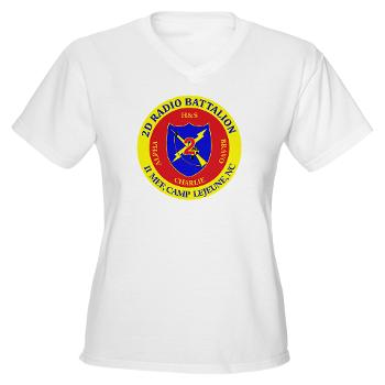 2RB - A01 - 01 - USMC - 2nd Radio Battalion - Women's V-Neck T-Shirt