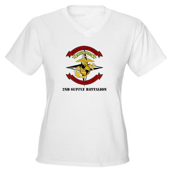 2SB - A01 - 04 - 2nd Supply Battalion with Text - Women's V-Neck T-Shirt