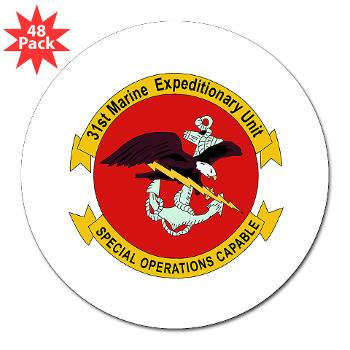 "31MEU - M01 - 01 - 31st Marine Expeditionary Unit 3"" Lapel Sticker (48 pk)"