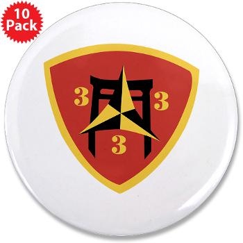 "3B3M - M01 - 01 - 3rd Battalion 3rd Marines 3.5"" Button (10 pack)"