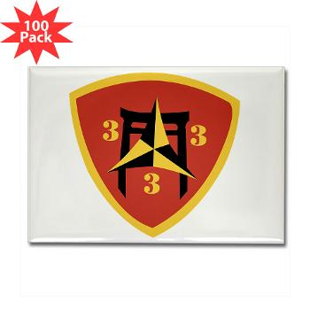 3B3M - M01 - 01 - 3rd Battalion 3rd Marines Rectangle Magnet (100 pack)