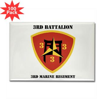 3B3M - M01 - 01 - 3rd Battalion 3rd Marines with Text Rectangle Magnet (100 pack)