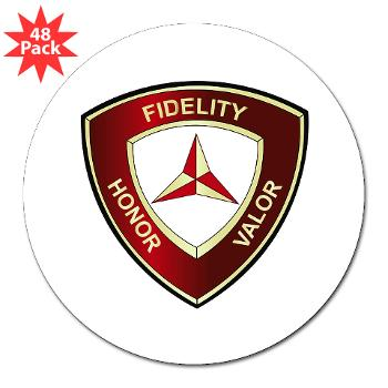 "3MD - M01 - 01 - 3rd Marine Division - 3"" Lapel Sticker (48 pk)"