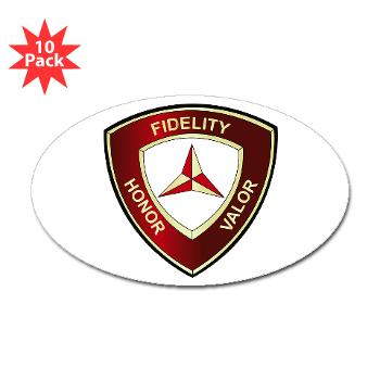 3MD - M01 - 01 - 3rd Marine Division - Sticker (Oval 10 pk)