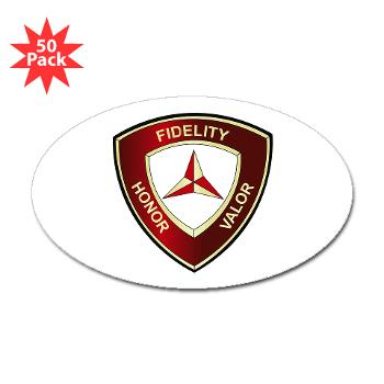 3MD - M01 - 01 - 3rd Marine Division - Sticker (Oval 50 pk)
