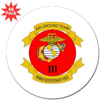 "3MEF - M01 - 01 - 3rd Marine Expeditionary Force with Text- 3"" Lapel Sticker (48 pk)"