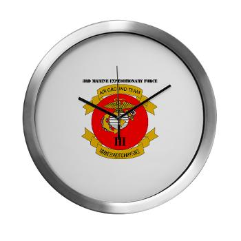 3MEF - M01 - 03 - 3rd Marine Expeditionary Force with Text- Modern Wall Clock