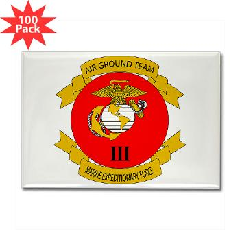 3MEF - M01 - 01 - 3rd Marine Expeditionary Force with Text- Rectangle Magnet (100 pack)