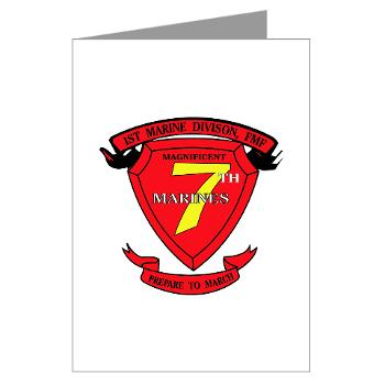 7MR - M01 - 02 - 7th Marine Regiment Greeting Cards (Pk of 20)