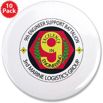 "9ESB - M01 - 01 - 9th Engineer Support Battalion 3.5"" Button (10 pack)"