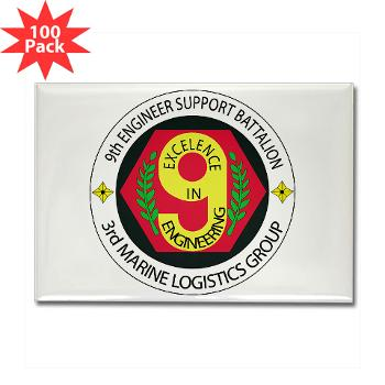 9ESB - M01 - 01 - 9th Engineer Support Battalion Rectangle Magnet (100 pack)