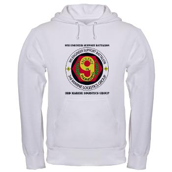 9ESB - A01 - 03 - 9th Engineer Support Battalion with Text Hooded Sweatshirt