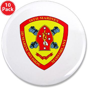 "HB10M - M01 - 01 - Headquarters Battery 10th Marines - 3.5"" Button (10 pack)"