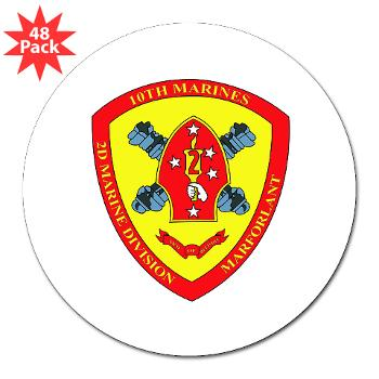 "HB10M - M01 - 01 - Headquarters Battery 10th Marines - 3"" Lapel Sticker (48 pk)"
