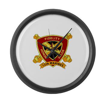 HB12M - M01 - 03 - Headquarters Battery 12th Marines Large Wall Clock