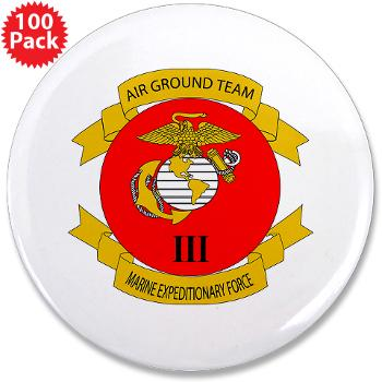 "HB3M - M01 - 01 - Headquarters Bn - 3rd MARDIV - 3.5"" Button (100 pack)"