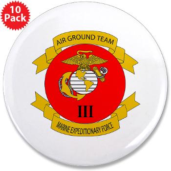 "HB3M - M01 - 01 - Headquarters Bn - 3rd MARDIV - 3.5"" Button (10 pack)"